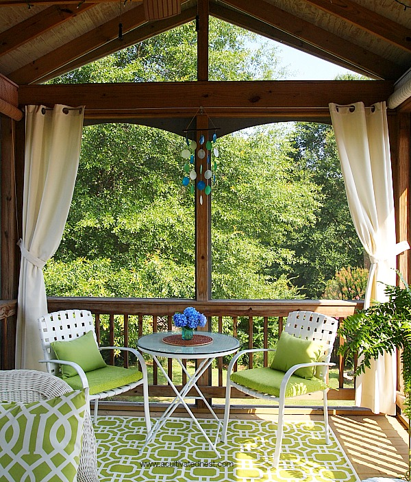 Summer Porch Tour - small dining area on the porch