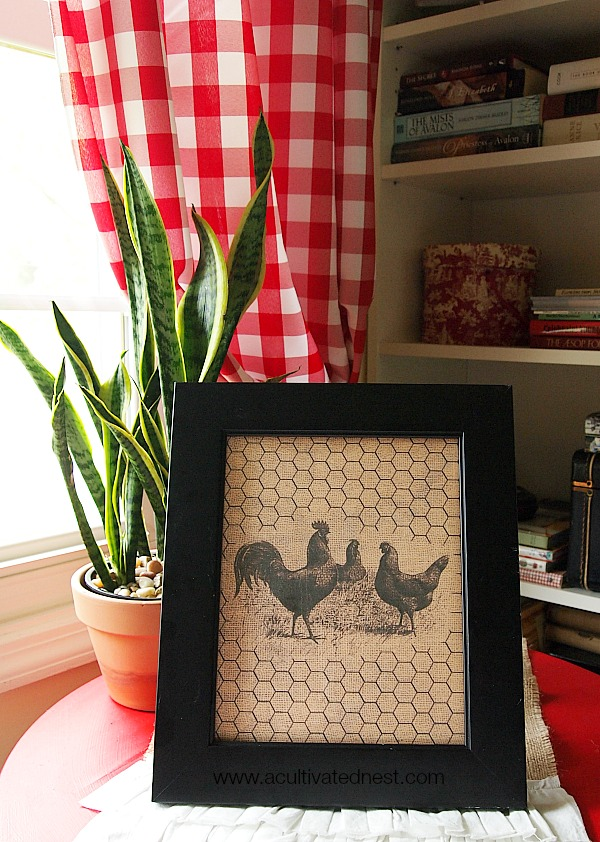 free home decor printable chickens burlap chicken - Home Decor Photos Free