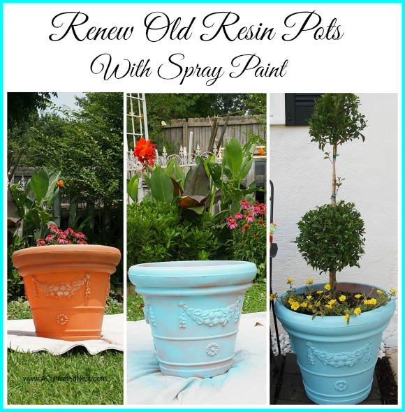 DIY Outdoor Projects: Like this one where you can renew your old resin pots. So easy! |Backdoor Seating Area Makevoer