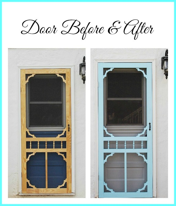 wooden screen door before and after makeover