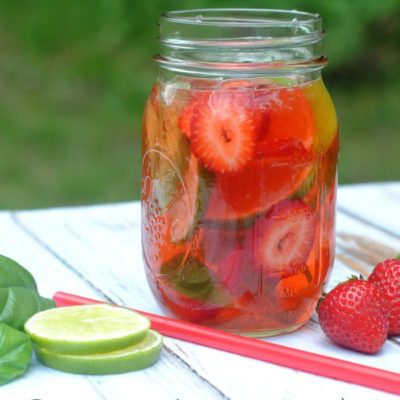 How to make refreshing strawberry basil lime infused water. A delicious way to stay hydrated this summer!