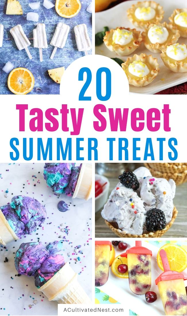 20 Yummy Sweet Summer Treats- If you want a delicious summer dessert, then you have to try these homemade sweet summer treats! They're such a wonderfully delicious way to enjoy summer! | cold dessert recipes for summer, #recipes #dessertRecipes #iceCream #summerRecipes #ACultivatedNest