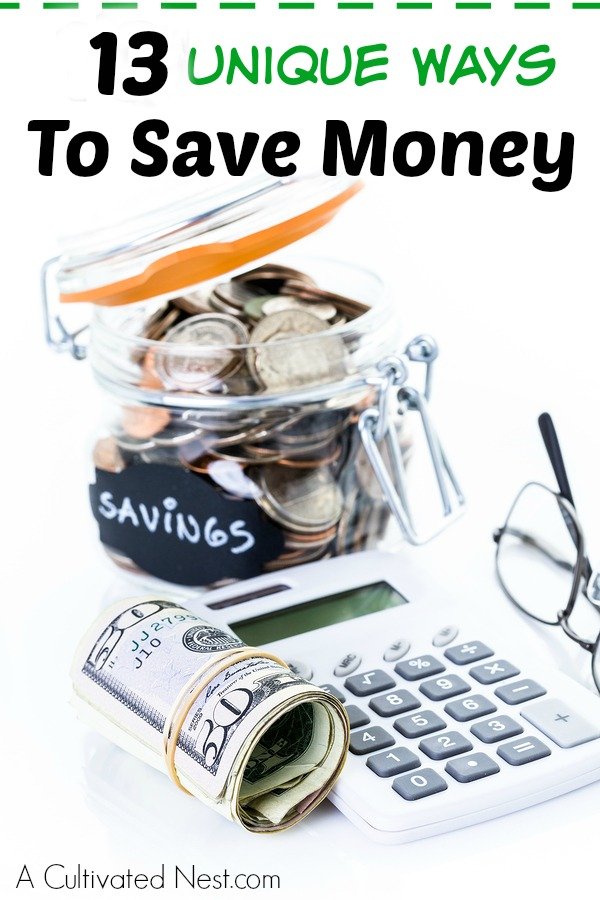 Unique Ways To Save Money - Are you tired of being in debt? Maybe you just want to save some money for something special. Well, there are many ways you can save a bit of cash, while still enjoying life that may not be your ordinary way to save money! Here are 13 unique ways you can start saving money right away. #savemoney #moneysavingtips #frugal #frugalliving