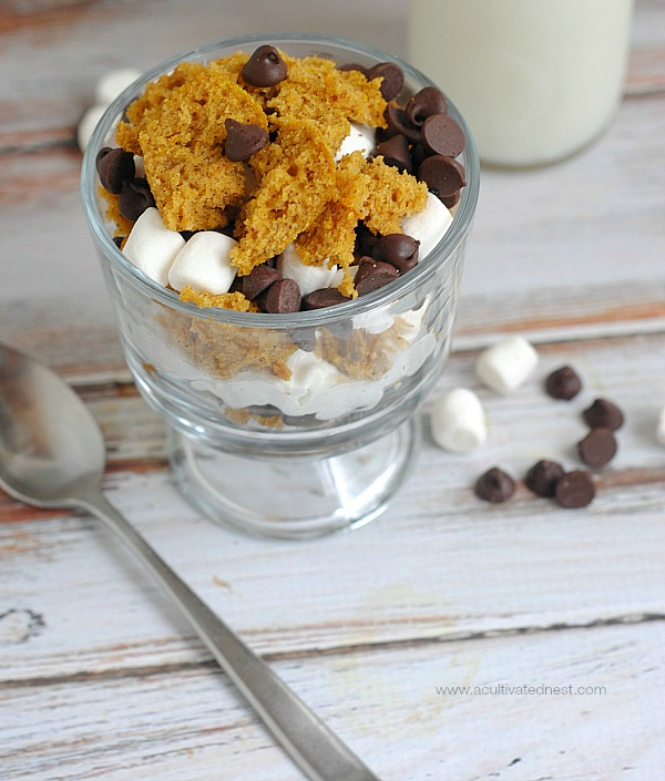 Here's a tasty take on a summer time campfire treat that uses pumpkin! Pumpkin Bread S'more Trifle!