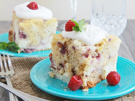 White chocolate raspberry cream cake by Betty Crocker