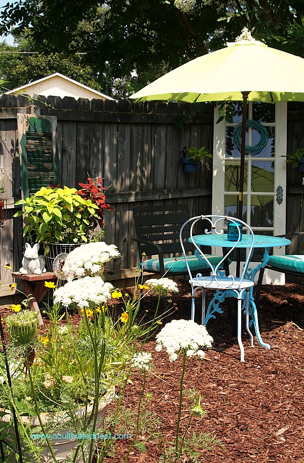 A pretty seating in a vegetable garden