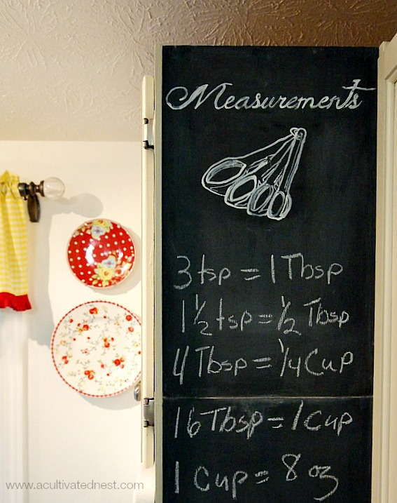 What a cute idea! A chalkboard wall with a  kitchen measurement conversion chart on it!