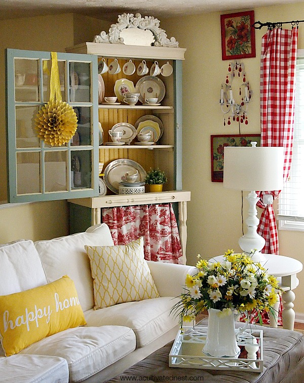 Yellow And Red Cottage Style Living Room Decor Part 49