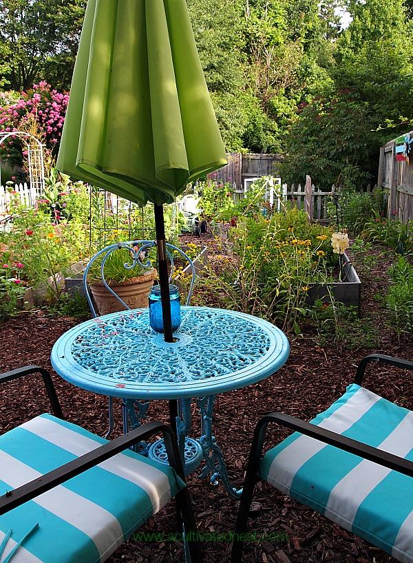 vegetable garden seating area