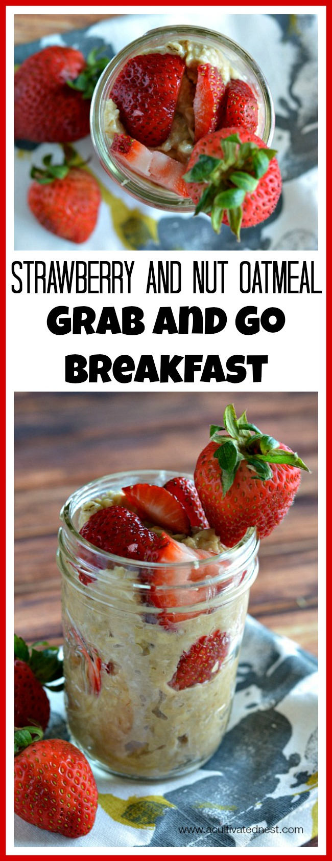 If you're usually busy in the morning, you should try a grab and go breakfast! A tasty and healthy one that I love is chilled strawberry and nut oatmeal!