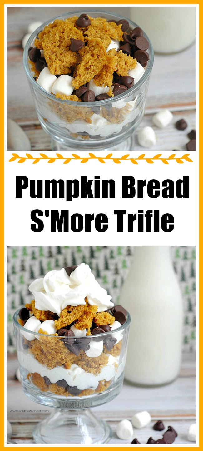 Individual Pumpkin Bread S'more Trifle! Here's a tasty take on a summer time campfire treat that uses pumpkin! Fall desserts, pumpkin desserts, mini desserts, s'mores