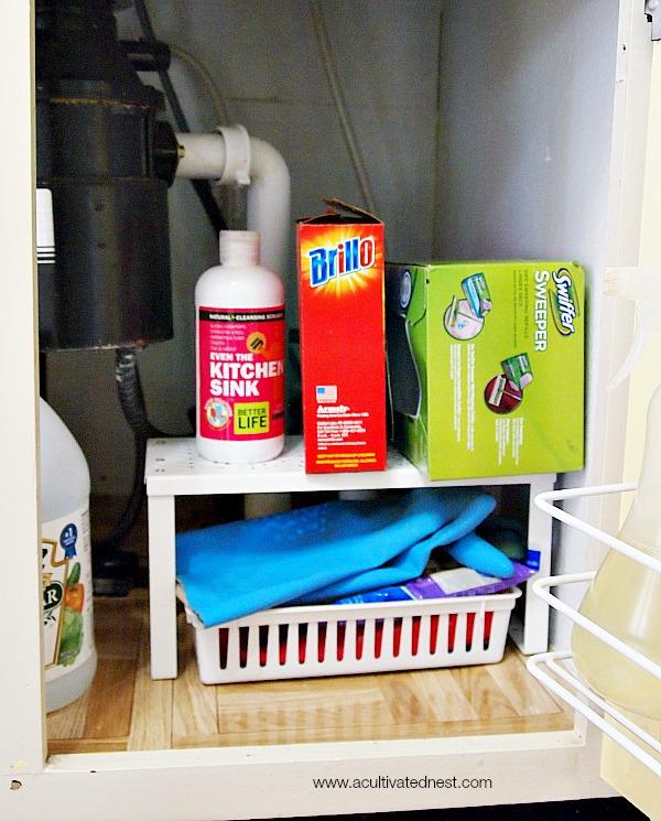 organizing under a kitchen sink