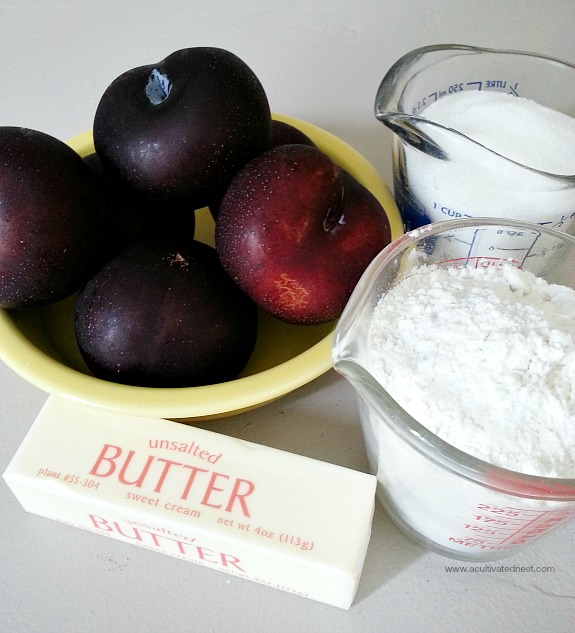 Rustic plum tart ingredients