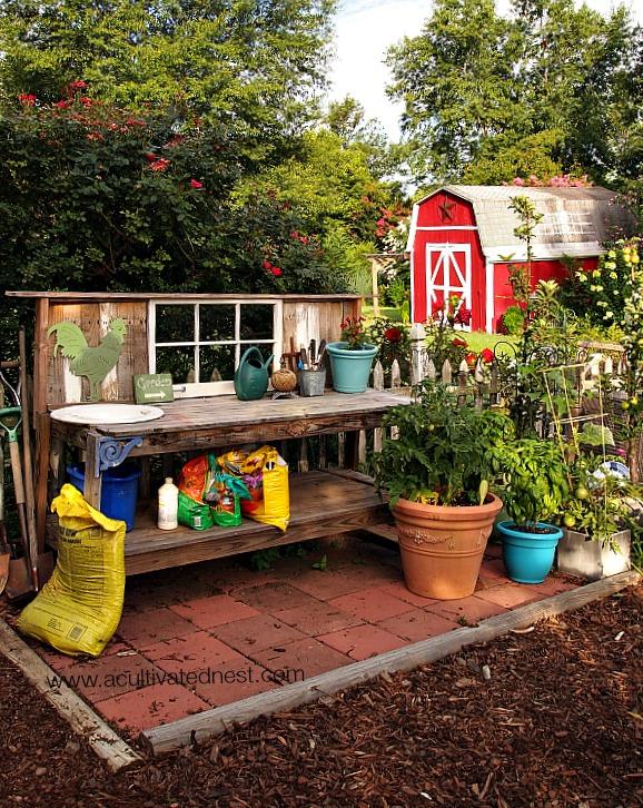 potting area in vegetable garden
