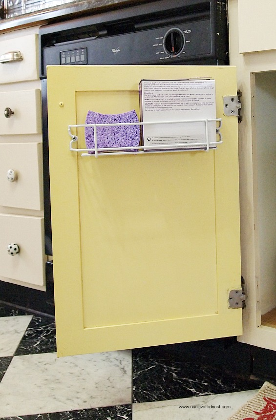 use wire racks on cabinet doors for extra storage