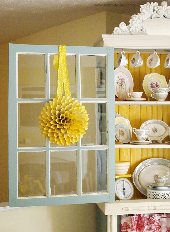 yellow book page cone wreath