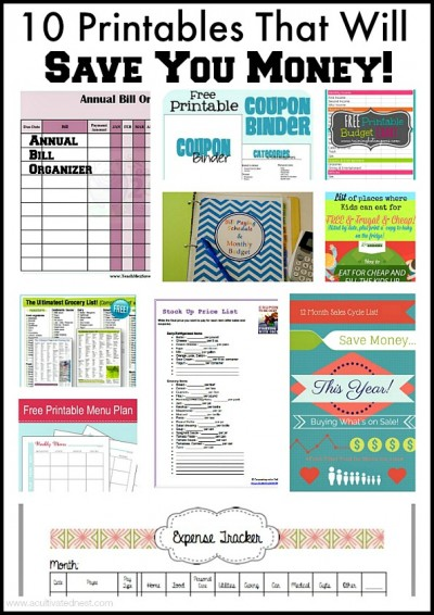 Here are 10 printables that will keep you organized and help you save money!