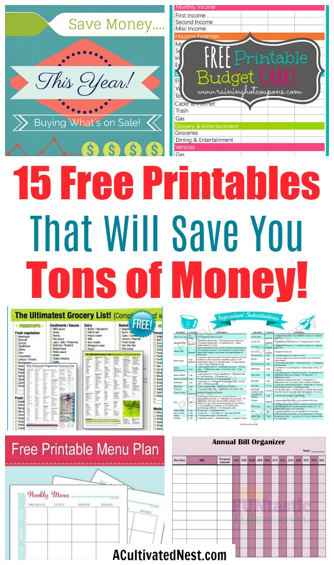 15 Free Printables to Save You Money