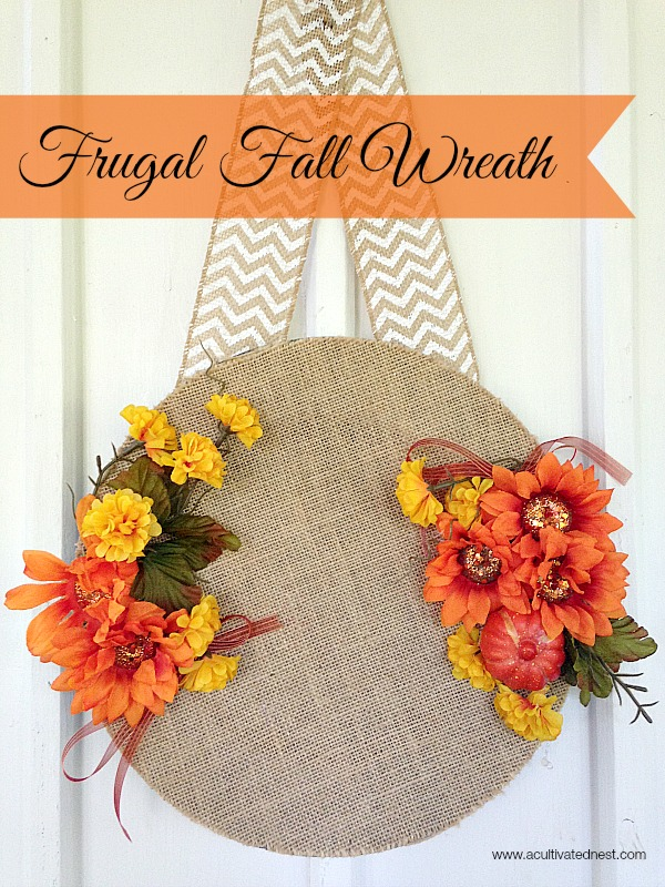 Easy frugal fall wreath for Cheap craft ideas for adults