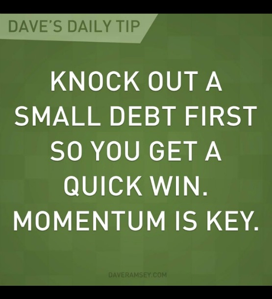 Dave Ramsey Daily tip - debt snowball method