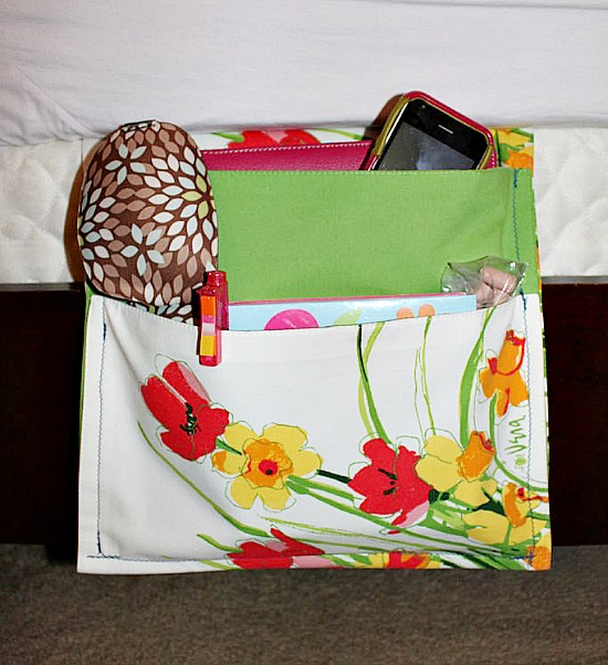 bedside caddy made from placemats
