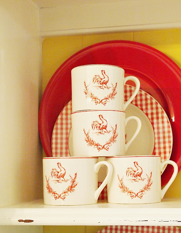 Mainstays home rooster cups {china cabinet makeover}