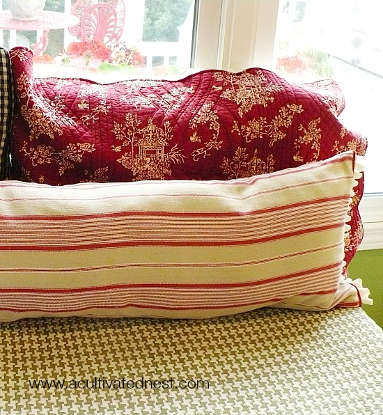 pillow made from a table runner