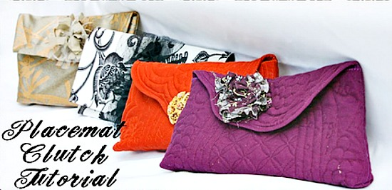 various clutches made from placemats