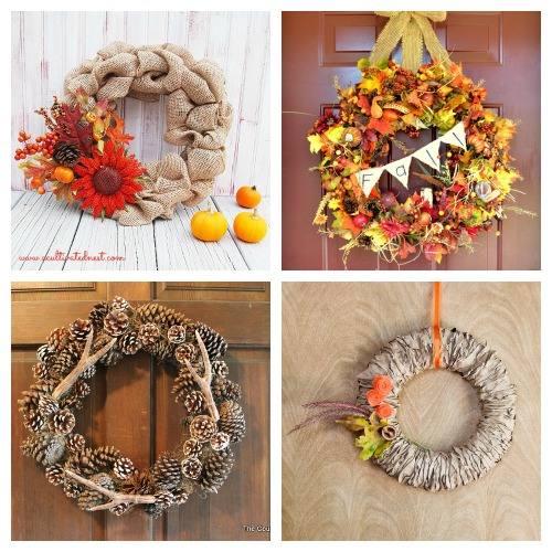 25 DIY Wreaths for Fall- A fun and inexpensive way to update your home's decor for fall is with a homemade wreath! For inspiration, check out these 25 festive DIY fall wreaths! | how to make a wreath, fall-themed wreath, frugal fall wreath, inexpensive fall wreath, DIY fall home decor, #DIY #wreath #fall #decor #diyProject #autumn #decorating #craft #ACultivatedNest