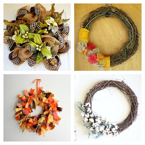 25 DIY Fall Wreaths to Make- A fun and inexpensive way to update your home's decor for fall is with a homemade wreath! For inspiration, check out these 25 festive DIY fall wreaths! | how to make a wreath, fall-themed wreath, frugal fall wreath, inexpensive fall wreath, DIY fall home decor, #DIY #wreath #fall #decor #diyProject #autumn #decorating #craft #ACultivatedNest