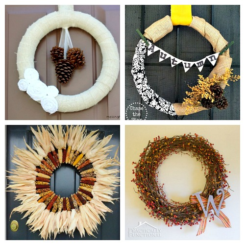 25 DIY Autumn Wreaths- A fun and inexpensive way to update your home's decor for fall is with a homemade wreath! For inspiration, check out these 25 festive DIY fall wreaths! | how to make a wreath, fall-themed wreath, frugal fall wreath, inexpensive fall wreath, DIY fall home decor, #DIY #wreath #fall #decor #diyProject #autumn #decorating #craft #ACultivatedNest