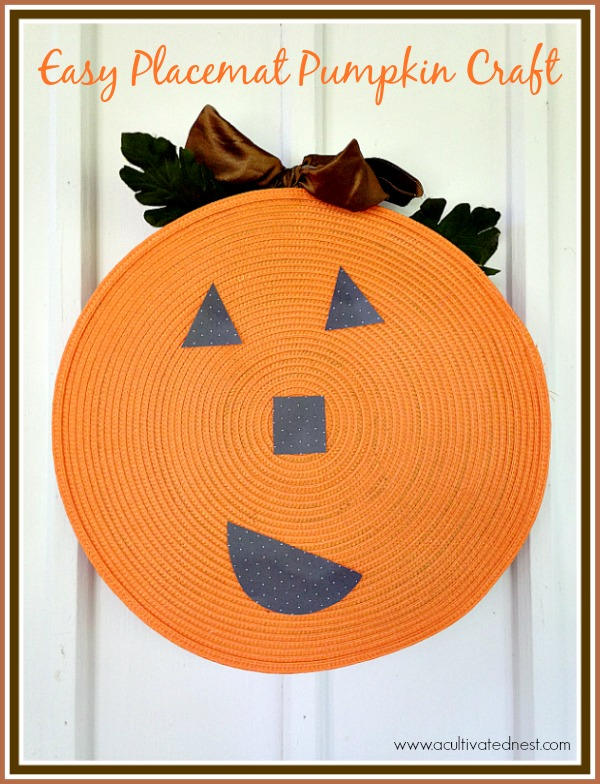 Here's a easy DIY fall craft that's cute and frugal! A placemat pumpkin!