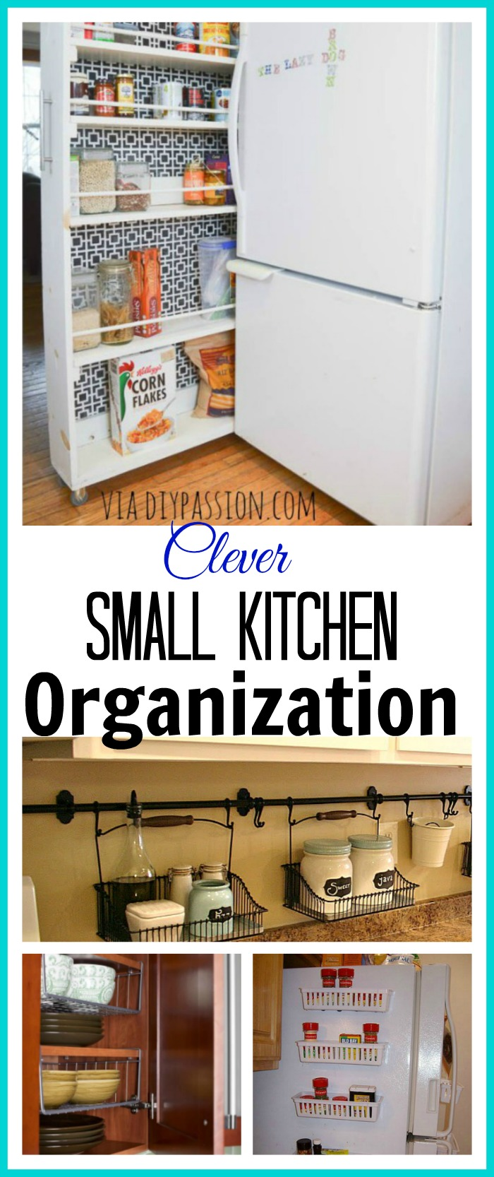 Really clever ideas for organizing your small kitchen and maximizing space!