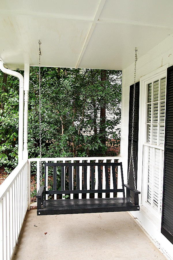 black porch swing