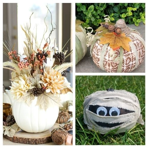 16 Dollar Store Pumpkin Crafts- Foam pumpkins from the dollar store are the perfect accessory to makeover on a budget! Use them in these fall dollar store pumpkin crafts!   #crafts #diyProjects #fallDIY #pumpkinDIY #ACultivatedNest