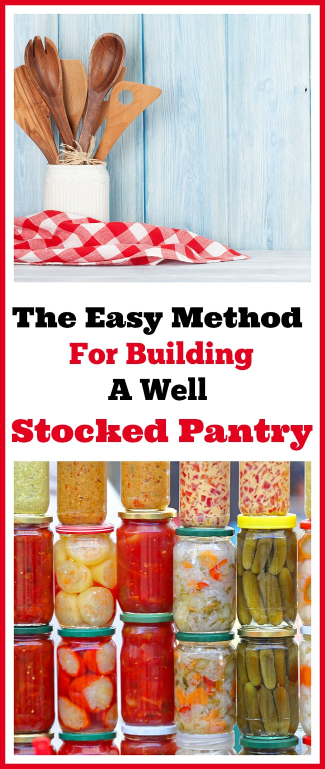 How to build a well stocked pantry the easy way. Having a well stocked pantry is so important in managing your grocery budget! Here's how to build your stockpile the easy no-stress way that lets you stick to your food budget. Frugal living tips, money saving tips, saving money on groceries, living on a budget