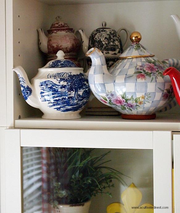 Vintage Mackenzie Childs Courtly  Checks teapot