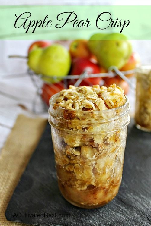 Yum! Delicious apple pear crisp in a mason jar.