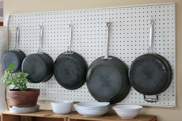 small kitchen solutions like this pegboard pot rack