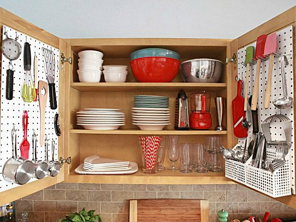 10 Ideas For Organizing A Small Kitchen- Cabinet pegboard organizer. | how to organize a small space, organize an apartment, organize a tiny kitchen, #homeOrganization #organizing #kitchen #organization #organizingTips #organize