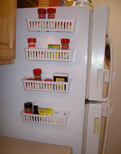 10 Ideas For Organizing A Small Kitchen- Side of fridge spice organizer. | how to organize a small space, organize an apartment, organize a tiny kitchen, #homeOrganization #organizing #kitchen #organization #organizingTips #organize