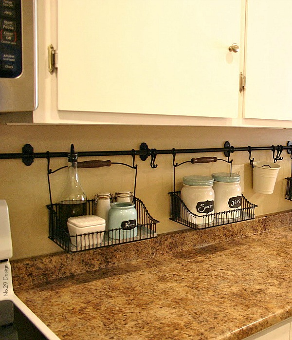 10 Ideas For Organizing A Small Kitchen- Backsplash baskets. | how to organize a small space, organize an apartment, organize a tiny kitchen, #homeOrganization #organizing #kitchen #organization #organizingTips #organize