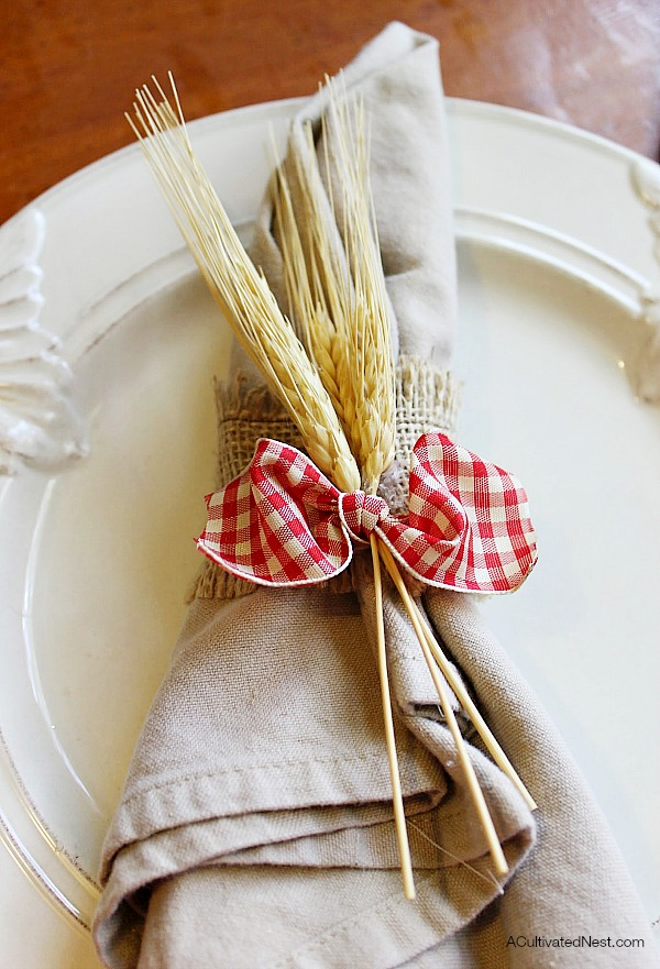 DIY burlap gingham & wheat napkin ring.