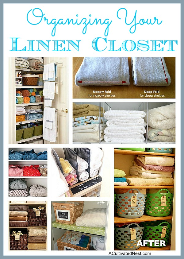 Organizing Your Linen Closet - Tired of having a messy linen closet? Organizing your linen closet is easy with these fantastic ideas! They'll get your sheets, towels, washcloths, and more neat and tidy! | #organizingTips #organization #organize #linenCloset #ACultivatedNest