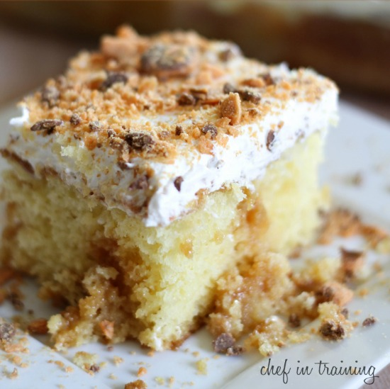 Fabulous ideas for using up candy like this Butterfinger cake from Chef In Training