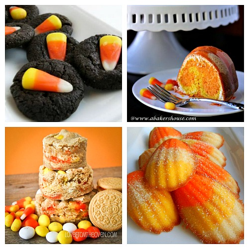 Candy Corn Themed Dessert Recipes- If you love candy corn, then you've got to check out these 25 creative candy corn recipes! These are wonderful fall or Halloween dessert ideas! And they're a great way to use up leftover Halloween candy! | candy corn desserts, candy corn themed food, #dessert #recipe #candyCorn #Halloween #fall #food #cookies #cake #ACultivatedNest