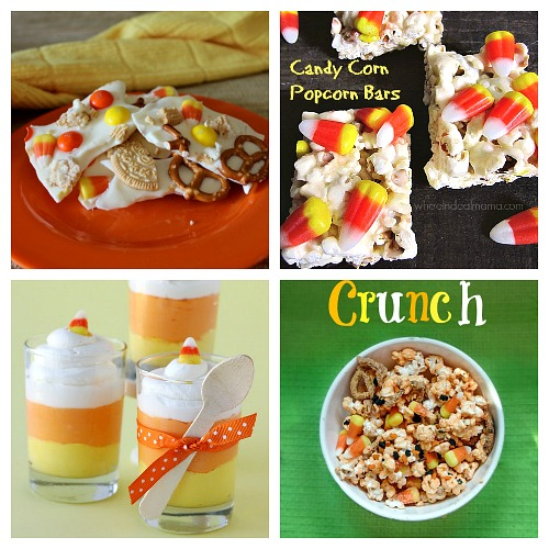 Desserts to Make with Candy Corn- If you love candy corn, then you've got to check out these 25 creative candy corn recipes! These are wonderful fall or Halloween dessert ideas! And they're a great way to use up leftover Halloween candy! | candy corn desserts, candy corn themed food, #dessert #recipe #candyCorn #Halloween #fall #food #cookies #cake #ACultivatedNest