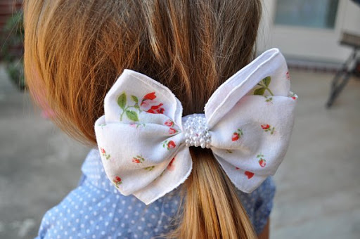 hair bow made from a vintage hankie