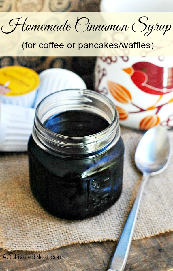 This homemade coffee syrup recipe is so easy to make (only 3 ingredients).  Just delicious in coffee or even on top of pancakes. Makes a wonderful gift too!
