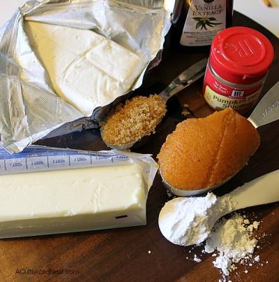 ingredients used to make mini pumpkin pie cheeseball bites